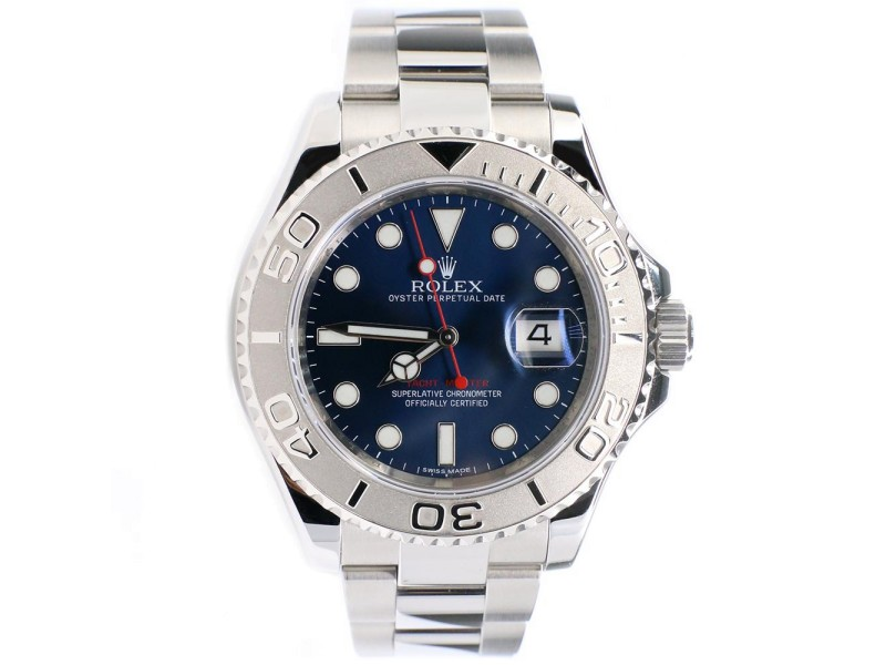 Rolex Yacht-Master 40MM Platinum and Stainless Steel Watch Blue Dial 116622 Box Papers