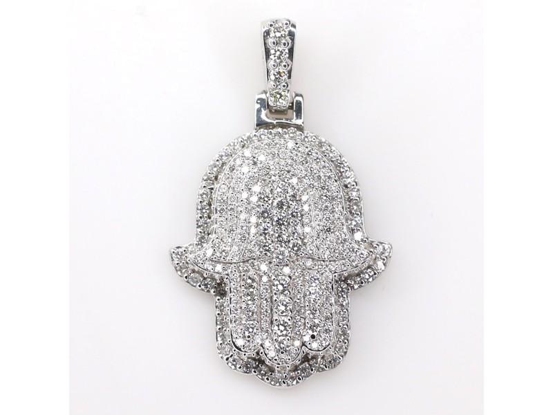 14K White Gold 2.1ct Diamond Hamsa Pendant