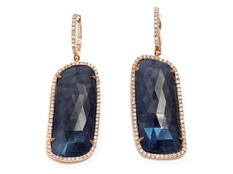 14K Rose Gold 44ct Rose Cut Sliced Blue Sapphire & 0.77ct Diamonds Earrings