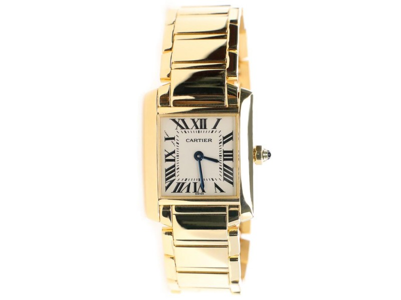 Cartier Tank Francaise 20MM Yellow Gold Roman Dial Ladies Watch