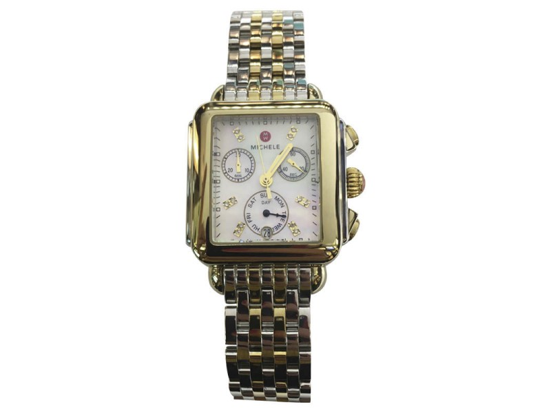Michele MW06P00C9046 Stainless Steel and 18K Yellow Gold Plated Mother of Pearl 33mm Womens Watch