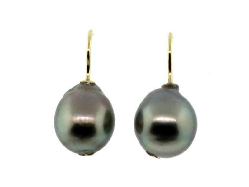 18K Yellow Gold with Tahitian Cultured Pearl Drop Earrings