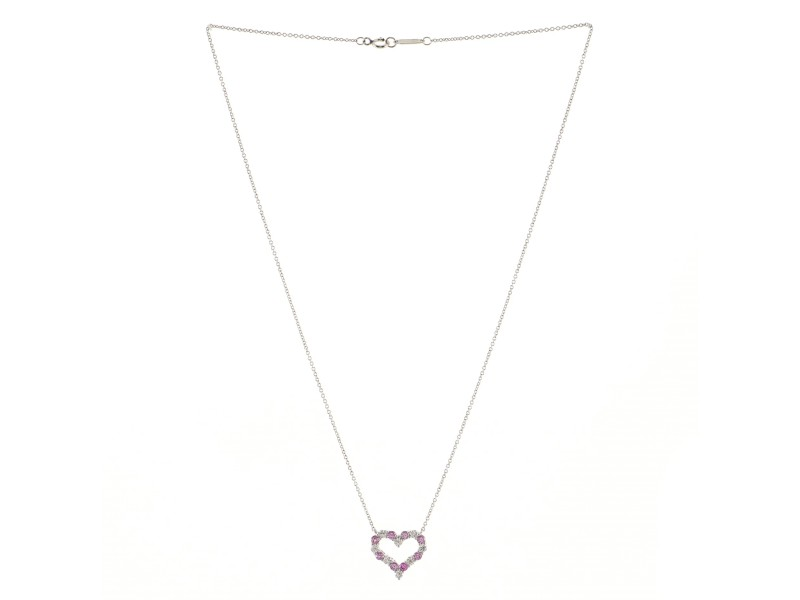Tiffany & Co. Sentimental Heart Pendant Necklace Platinum with Diamonds and Pink Sapphires Mini