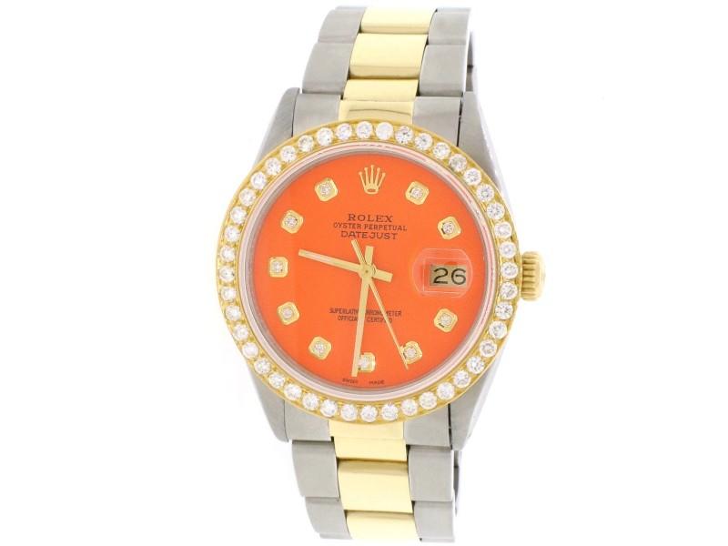 Rolex Datejust 2-Tone 18K Gold/SS 36mm Automatic Oyster Watch w/ Orange Diamond Dial / Gold Diamond Bezel