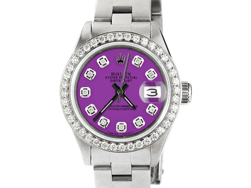 Rolex Datejust Ladies Automatic Stainless Steel 26mm Oyster Watch w/Sangria Purple Dial & Bezel