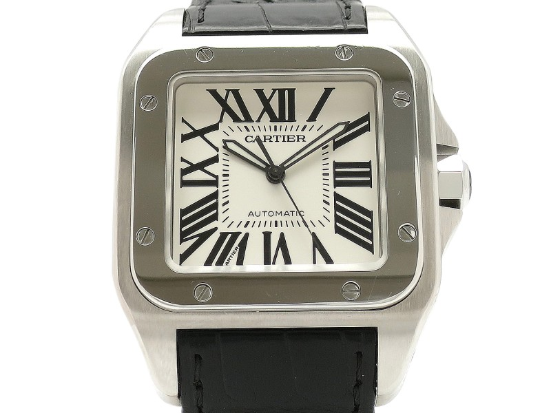 Cartier Santos 100 W20073X8 Leather 51mm x 41mm Mens Watch