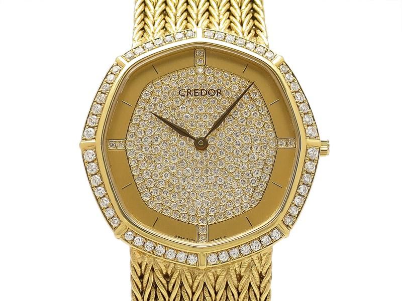 SEIKO Credor GHAJ877 18k Yellow Gold 33.9mm x 32.3mm Mens Watch