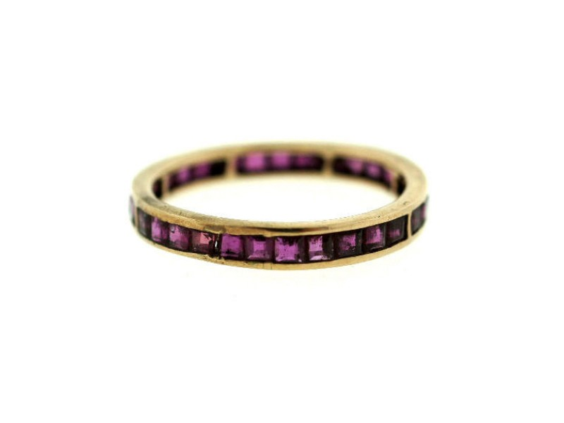 18K Pink Rose Gold Ruby Band Ring