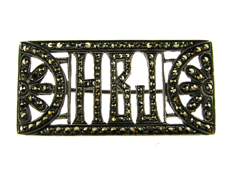 European Sterling Silver & Marcasite Pin
