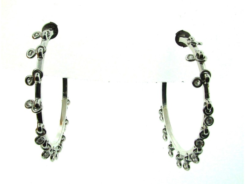 Dior 18K White Gold Hoops Diamond Dangle Earrings Stamped 750