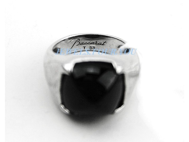 Baccarat 925 Sterling Silver Medicis Onyx Ring
