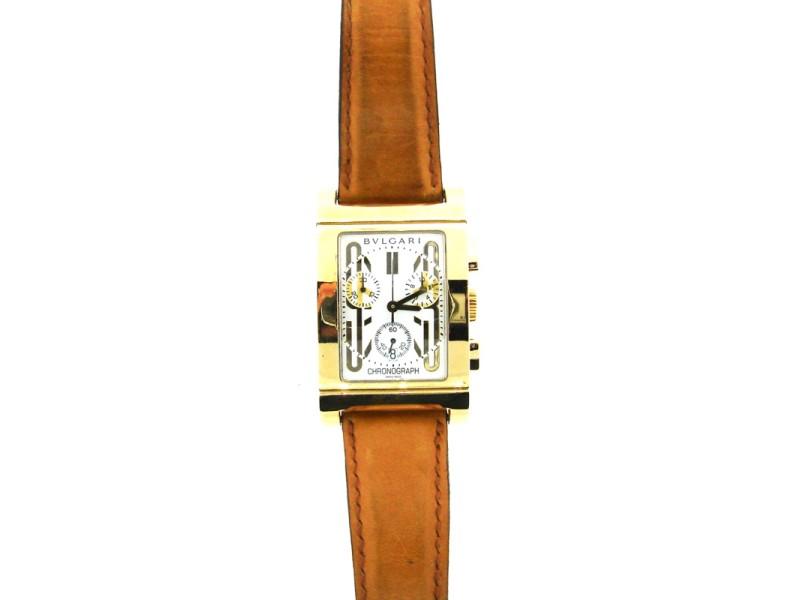 Bvlgari Bulgari 18k Yellow Gold & Leather Rettangolo Watch