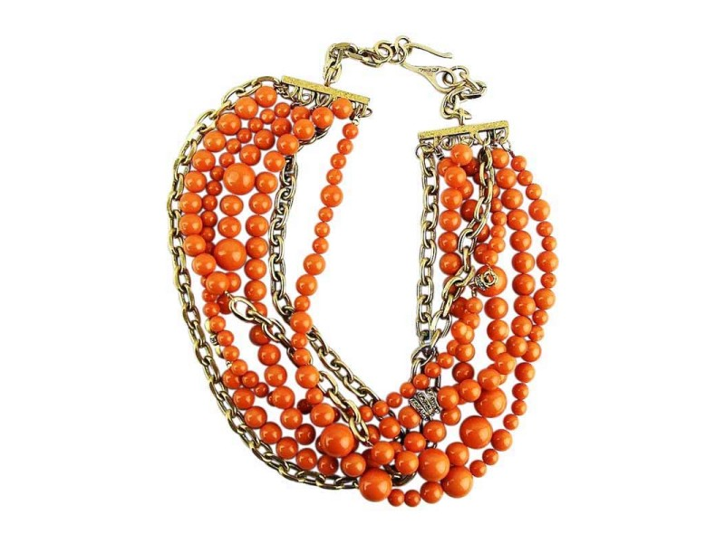 Coral 7 Rows Swarovski Spacers Gold Necklace