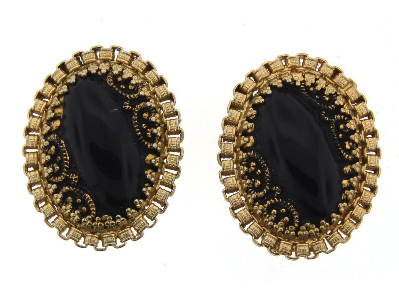 Gold Plated & Onyx Clip On Earrings