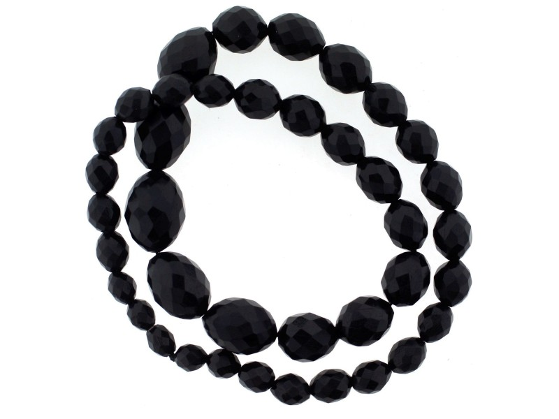 Jet Hand Carved Beads Necklace