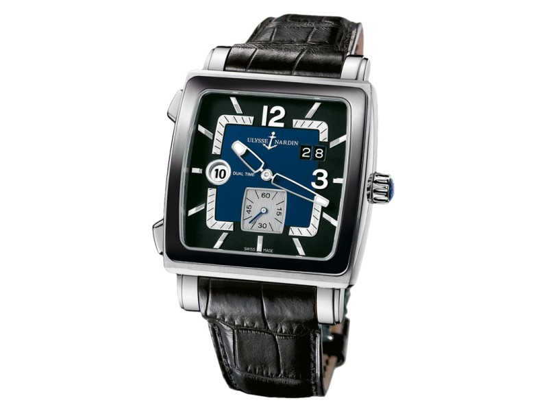 Ulysse Nardin 243-92cer/632 Quadrato Dual Time Stainless Steel Watch
