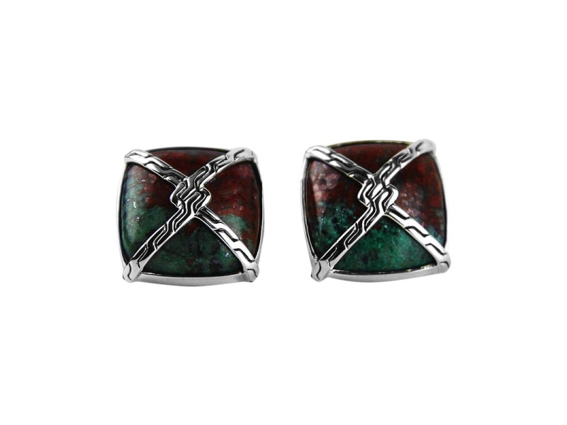 John Hardy Sterling Silver Knot Chain Cuprite On Turquoise Cufflinks