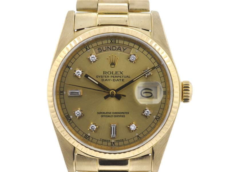Rolex 18038 Single Quick President Day Date 36mm 18K Yellow Gold Watch