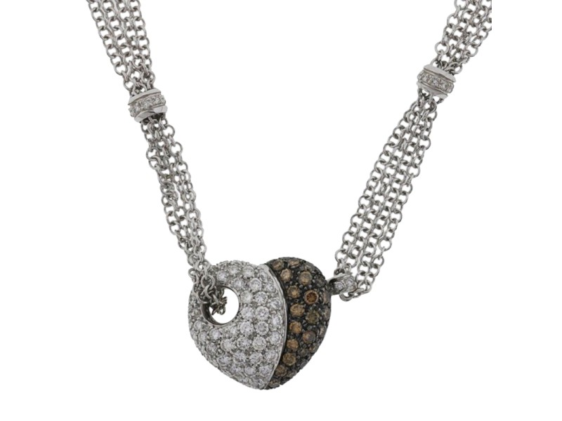 Leo Pizzo 18K White Gold White & Cognac Diamonds Heart Pendant Necklace