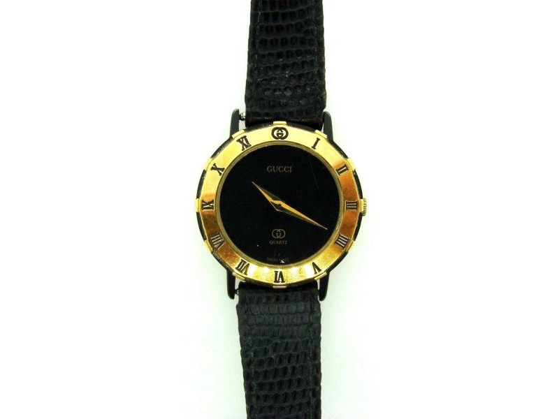 Gucci Enamel & Snakeskin Watch