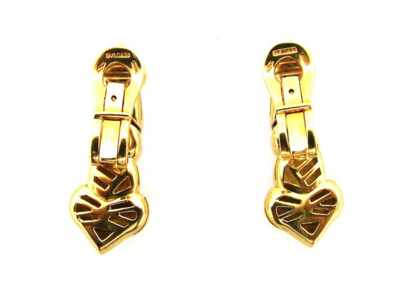 Bulgari 18K Yellow Gold Heart Clip On Earrings