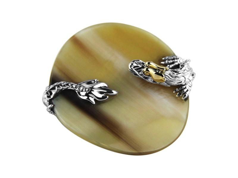 John Hardy Sterling Silver & 18K Yellow Gold Horn Naga Ring Size 7