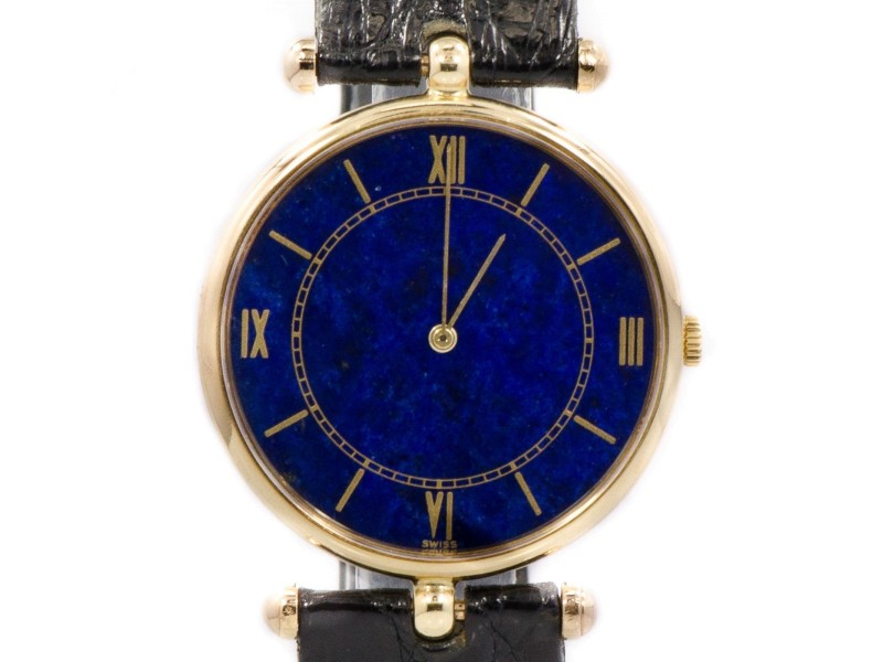 Piaget 18K Gold Blue Dial Leather Band  Manual Winding Mens Watch