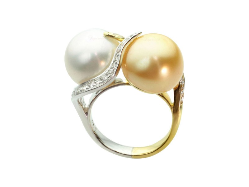 South Sea 18k Gold Natural White & Fancy Yellow Pearl Diamond Ring