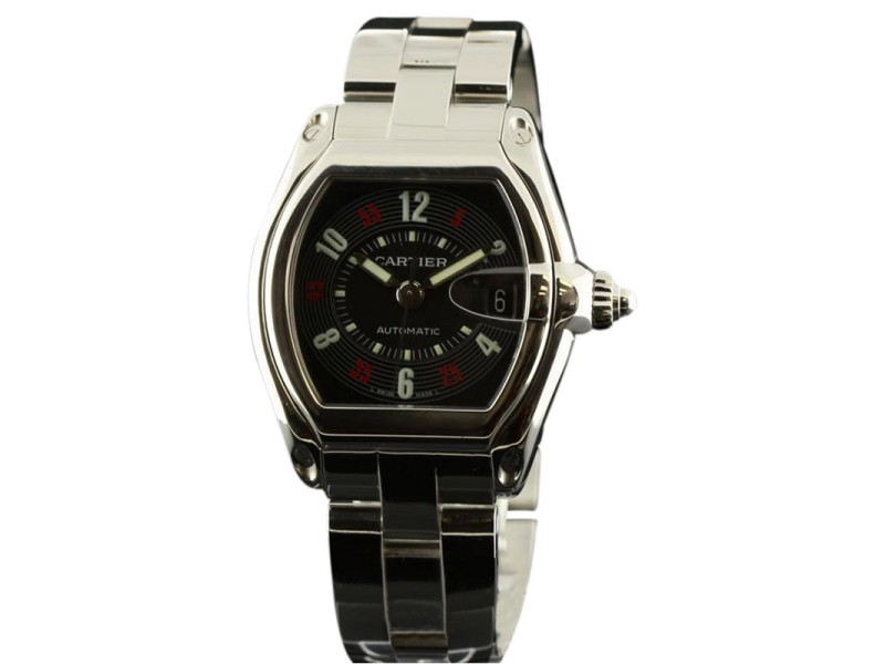 Cartier Roadster W62002V3 Large Steel Automatic Black/Red Arabic Mens Watch