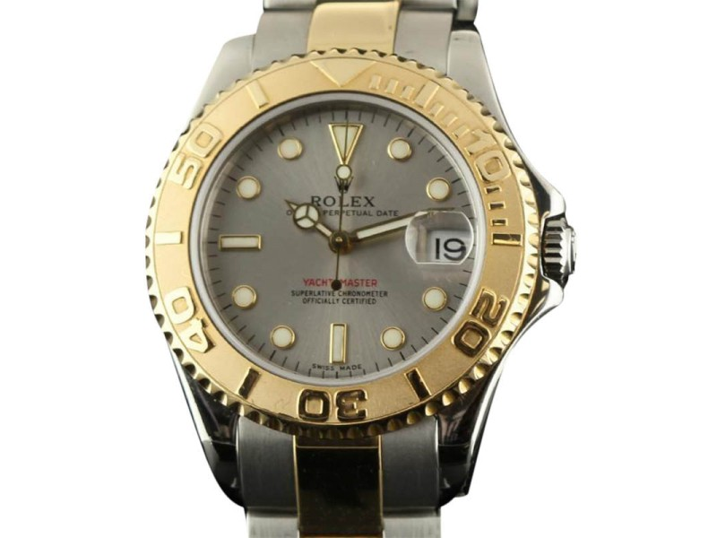 Rolex Yacht-Master 168623 Steel Gold Grey 35mm Watch 1999