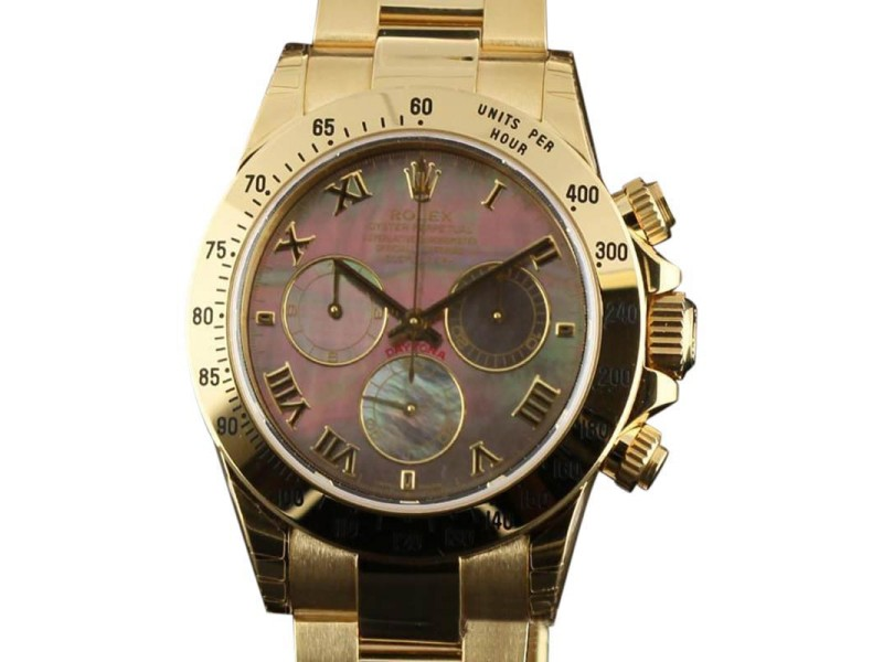 Rolex Daytona 116528 18K Yellow Gold Black Mother of Pearl Watch