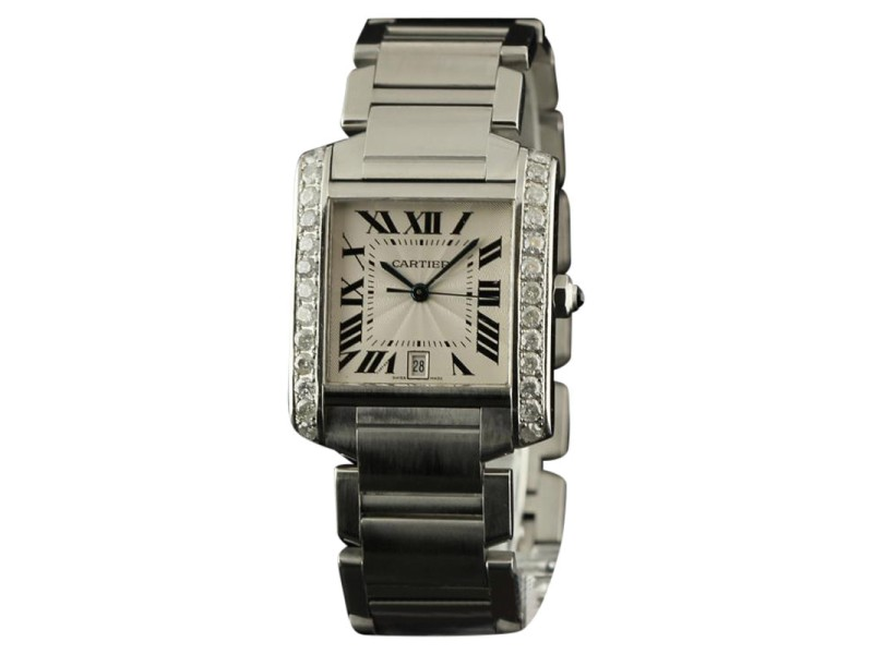 Cartier Tank Francaise Large W51002Q3 Diamonds Steel Silver Watch