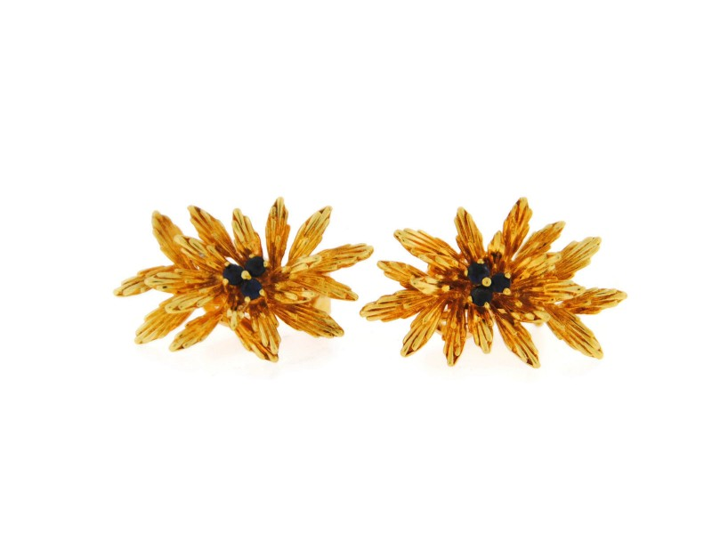 Tiffany & Co. 18K Yellow Gold Diamond and Sapphire Flower Earrings