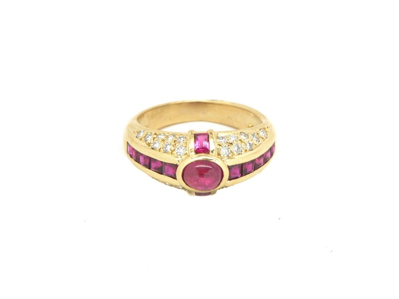 18K Yellow Gold 0.64 CT Cabochon Style Ruby Women's Ring