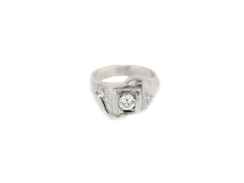 14K White Gold European Ring