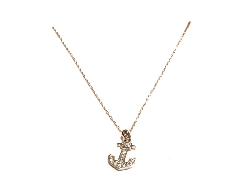 Bulgari 14K White Gold Diamond Anchor Necklace