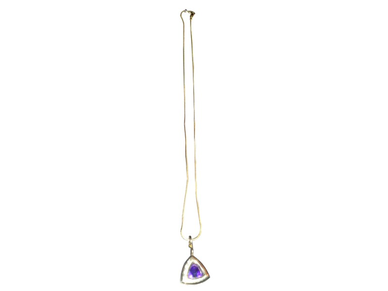 Womens 14K Yellow Gold Pendant containing one trilian cut reverse prong set Amethyst