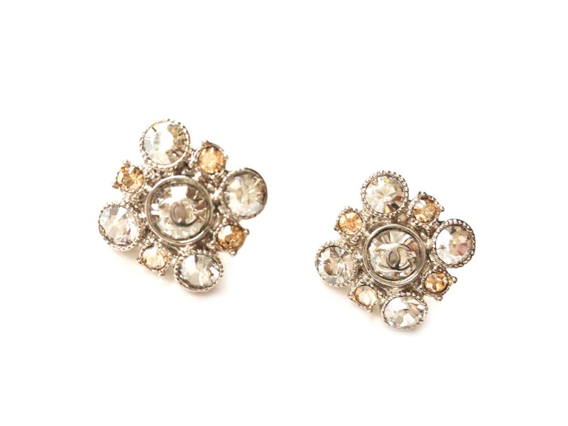 Chanel Argyle Rhinestone Crystal Piercing Earrings