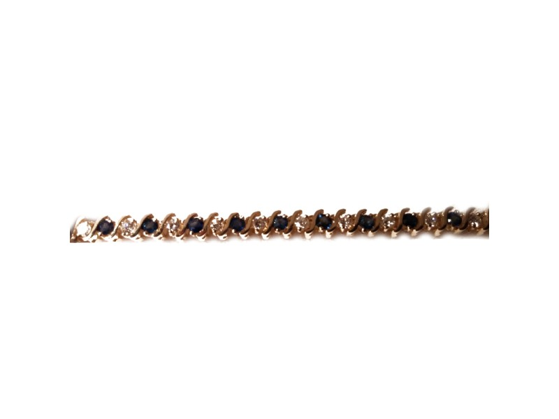 14K Yellow Gold Diamond & Sapphire Tennis Bracelet