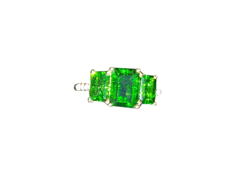 14K Yellow Gold Emerald Cut Chrome Diopside Diamond Ring