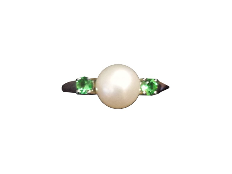 Sterling Silver Cultured Pearl & Geen Tsavorite Ring