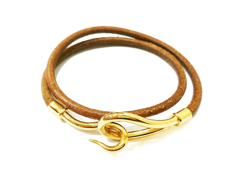 Hermes 18K Gold Plated Hook Palladium Leather Bracelet/Choker