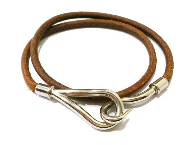 Hermes Hook Palladium Leather Bracelet or Choker