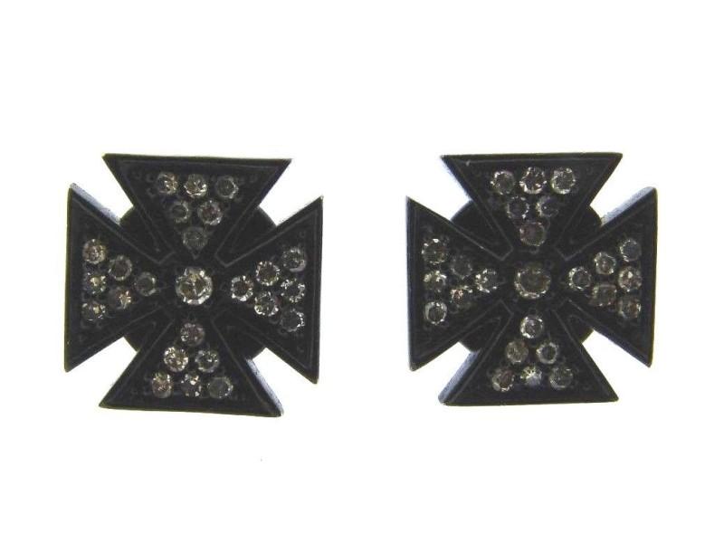 Lynn Ban Blackened Sterling Silver & Diamond Maltese Cross Earrings