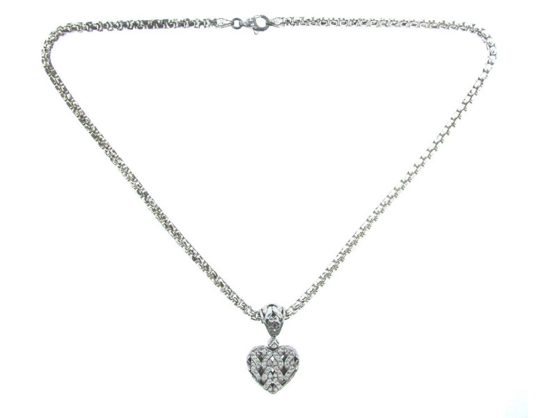 John Hardy Sterling Silver Diamond 18K White and Yellow Gold Heart Pendant
