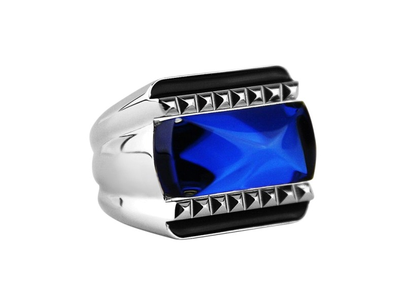 Baccarat Sterling Silver Blue Mordore Ring Sz 5.5