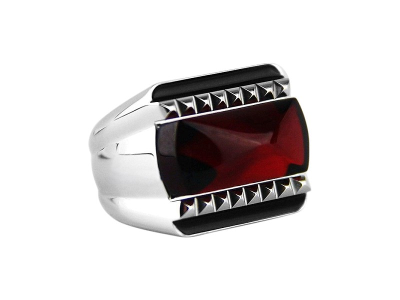 Baccarat Sterling Silver Red Mirror Ring Sz 5.5