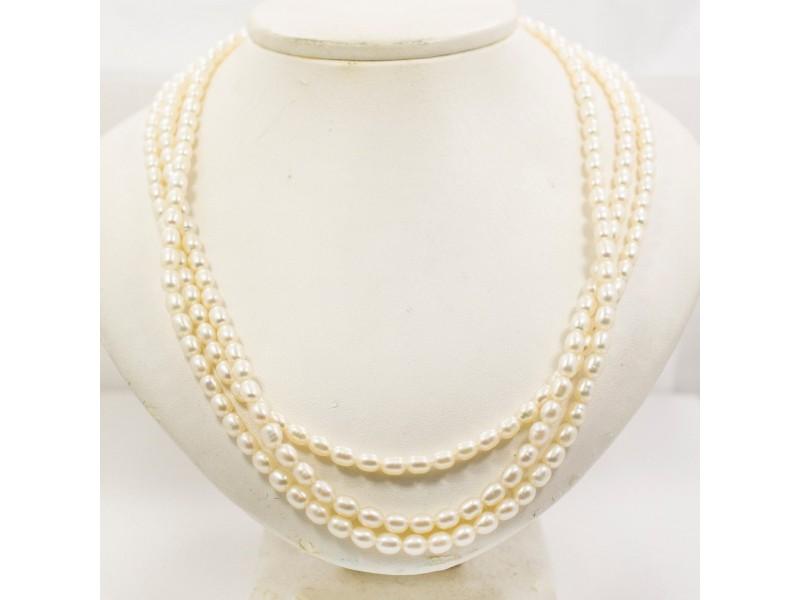 "Clasic Triple Strand Fresh Water Pearls 14K Yellow Gold Lock 32.0 Grams 17"""
