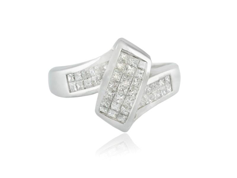 White White Gold Diamond Mens Ring Size 9