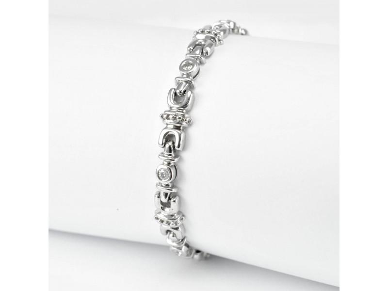 14K White Gold Tennis Bracelet 18.4 Gr 0.80 Ct Diamonds